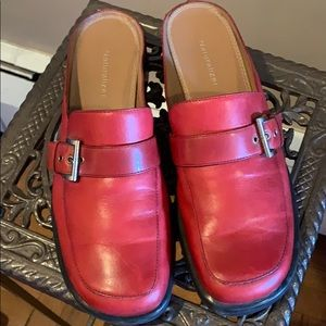 Naturalizer Red Leather Mules Sz 8 1/2 M